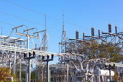 Power substation in autumn. Royalty Free Stock Images