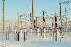 Power substation. The power substation costs covered with hoarfrost in frosty day Royalty Free Stock Photo