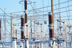 Power substation. The power substation costs covered with hoarfrost in frosty day Stock Images