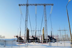 Power substation. The power substation costs covered with hoarfrost in frosty day Stock Image