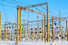 Power substation. The power substation costs covered with hoarfrost in frosty day Stock Photos