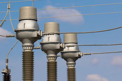 Power substation detail, high voltage isolation Royalty Free Stock Image