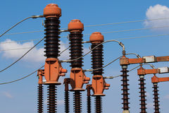 Power substation detail, red high voltage isolation Royalty Free Stock Photography