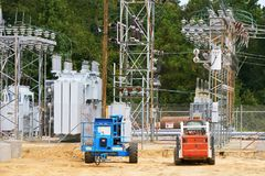 A power substation under construction. An electrical power substation being updated to present needs for service Stock Photography