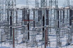 Power substation in the winter. Price forecasts. Power substation in the winter. Power prices increase across. Electricity Authority. Price forecasts royalty free stock images