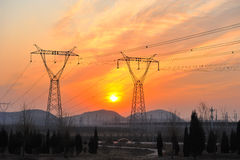 Power sunrise. Power sunrsie in the morning on field Royalty Free Stock Image