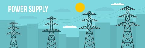 Power supply banner, flat style. Power supply banner. Flat illustration of power supply vector banner for web Royalty Free Stock Photography
