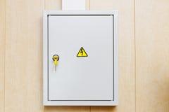 Power Supply Box. Grey Hinged Power Supply Box on the Wall Royalty Free Stock Photo