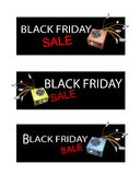Power Supply Box on Three Black Friday Sale Banners Stock Image