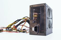 Power supply with cables unit for full ATX tower pc Stock Image