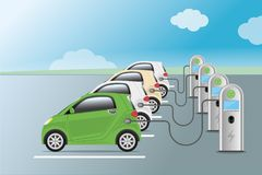 Power supply for electric car charging. Electric car charging   Royalty Free Stock Photos