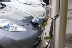Power supply for electric car charging. Electric car charging st Royalty Free Stock Photography