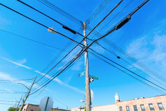 Power supply line in the Bronx, NYC. Old elevated power supply line in an industrial area of the Bronx, New York City stock photography
