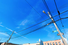 Power supply line in the Bronx, NYC Royalty Free Stock Photo