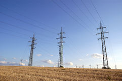 Power supply poles Stock Photos