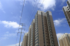 Power supply poles of the new indemnificatory housing for low-income people Stock Photography