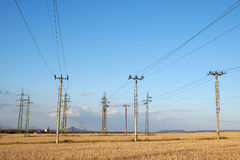 Power supply pylons Royalty Free Stock Images