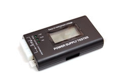 Power supply tester on white. Background stock image