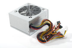 Power supply unit. On white royalty free stock photo