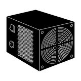 Power supply unit icon in black style isolated on white background. Personal computer accessories symbol stock vector Stock Photography