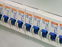 Power switch. On electricity control panel royalty free stock images