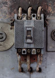 Power switch. The power switch has been used for a long time stock image