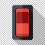 Power switch icon in flat style on transparent background. Power switch icon in flat style with long shadow on transparent background vector illustration