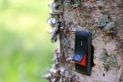 Power switch installed on tree. Concept of conservation, climate change, global warming, cleantech, green business and alternative energy. Copy space royalty free stock images
