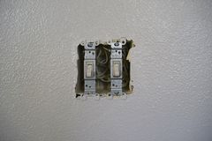 Power Switches for lights with out cover. Stock Image