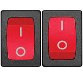 Power switches on off position, red, large detailed isolated macro closeup Stock Images