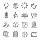 Power symbol line icon set. Power symbol line icon on white background vector illustration Stock Photography