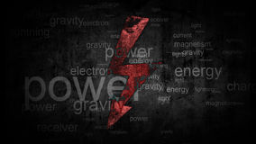 Power symbol with words synonyms. energy concept Royalty Free Stock Photography