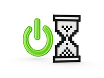 Power symnol and  sandglass icon. Stock Photography