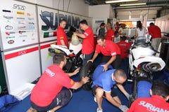 Power team by Suriano Triumph Daytona. Power Team by Suriano with Triumph Daytona 675 at World Supersport championship Misano 2012 ohlins Royalty Free Stock Image