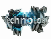 Power and technology concept. 3d metal sign Stock Photo
