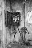Power or Telephone Panel in Abandoned Automotive Factory - Black and White Royalty Free Stock Photos