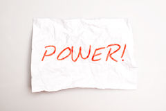 Power. Text written on paper Royalty Free Stock Images