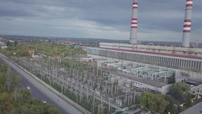 Power thermal plant. Electric power plant and heat station, aerial view stock video footage