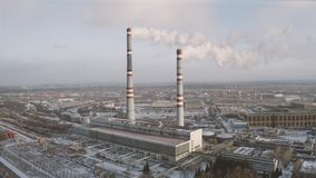 Power thermal plant. Power plant and heat station with smoking pipes, aerial view stock video