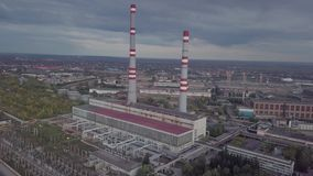 Power thermal Plant,. Power plant and heat station, aerial view stock video footage