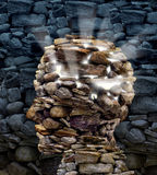 Power Of Thinking. And free your mind as a business or health care concept with a group of rocks in the shape of a human head glowing with a bright inner light Royalty Free Stock Photos