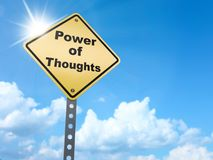 Power of thoughts sign. On blue sky background,3d rendered Stock Photography