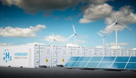 Power to gas concept with fresh sunny sky. Hydrogen energy stora Stock Image