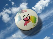 Power to the world. Turn on/off single button with world map over a sky background Royalty Free Stock Images