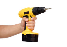 Power tool. Hand with power tool Royalty Free Stock Photos