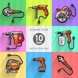 Power tool set. Vector illustration. Builder equipment Royalty Free Stock Photo