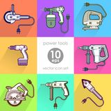 Power tool set. Vector illustration. Builder equipment Royalty Free Illustration