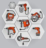 Power tool set. Vector illustration. Builder equipment Stock Images