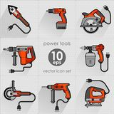Power tool set. Vector illustration. Builder equipment Stock Photos