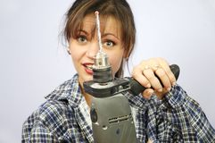 Power tool woman Royalty Free Stock Photo